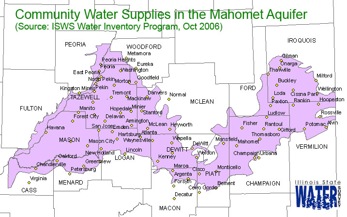 map showing the community water supplies pumping from the mahomet aquifer